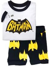 Купить с кэшбэком 2018 Summer Kids  Batman Clothes Baby Boys Gilrs Spider Man Short Sleeve Cotton Sleepwear Childrens Pajamas Pijamas Set