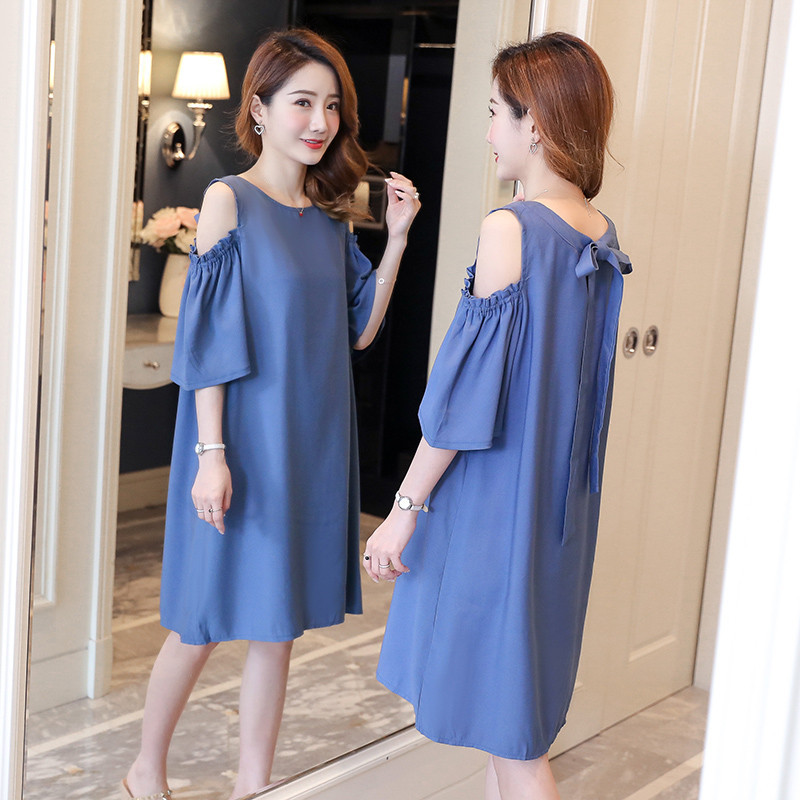 cfae1e514f3 Korean Fashion Sexy Shoulder Off Bow Pregnancy Dresses Summer Maternity  Shirt Stylish Clothes for Pregnant Women Loose Tops