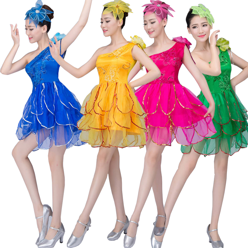 5 Colors Lady Girls Ballroom Jazz Dancewear Costumes Women Latin Hip Hop Performance Stage Dancing Dress Outfits S-XXXL