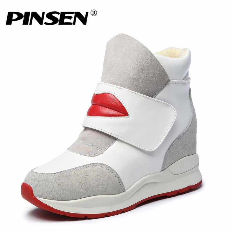 PINSEN Kış Kadın Botları Süet Deri Yumuşak Peluş yarım çizmeler Kanca Döngü Yüksekliği Artan Ayakkabı Kadın Kış Ayakkabı Kürk