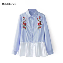 JuneLove 2017 Autumn Basic Blouse Shirt Women Embroidery Sweet Shirt Female Casual Patchwork Single Breasted Blusas Tops
