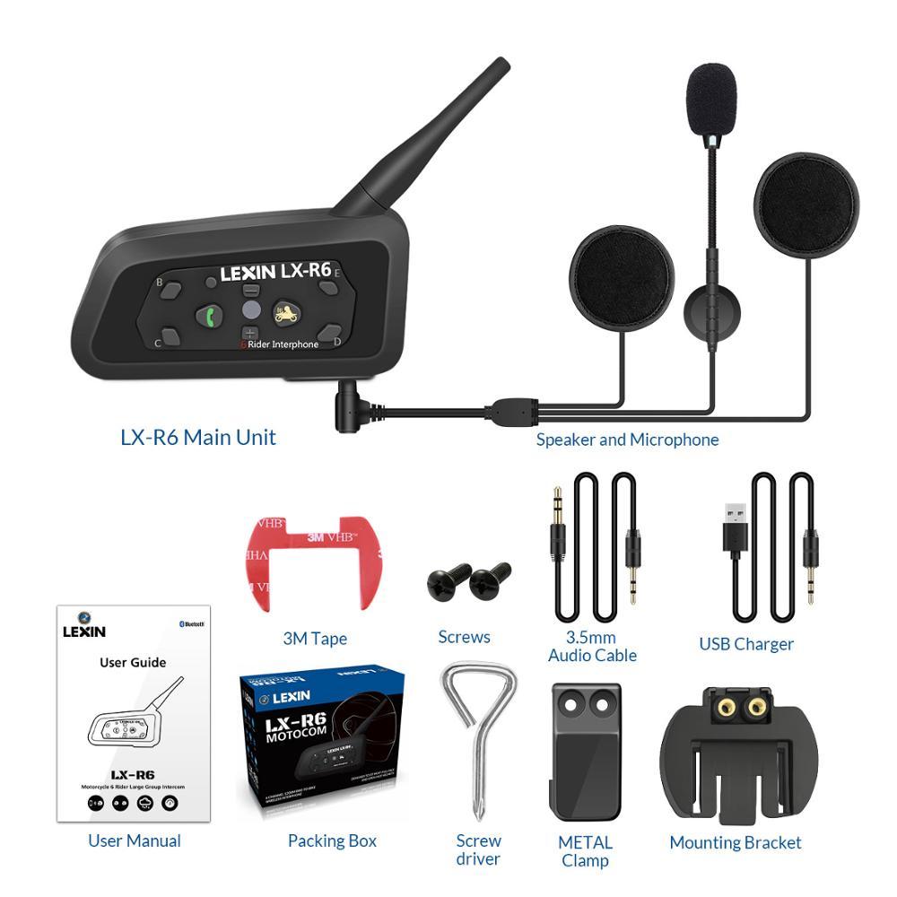 LEXIN 1200M Bluetooth Helmet Headsets Intercom Motorcycle Interphone Headset Waterproof Wireless Bluetooth Moto BT Headset r6 levers helmet maskhelmet quality - title=