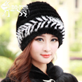 2016 New Genuine Knitted Mink Fur Hat For Women's Real Fur Cap Winter Ladies Beanies Warm Headgear Natural Fur Hats Female Caps