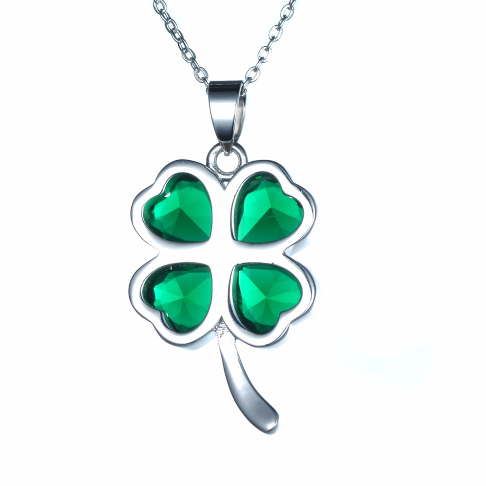 Green lucky shamrock necklace four leaf clover charm emerald green - Kivn Womens Fashion Jewelry Lucky Four Leaf Clover Green Cz Cubic Zirconia Wedding Necklaces Mothers Birthday Promotion Gifts In Pendant Necklaces From