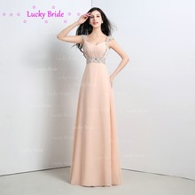 Elegant V-Neck Cap Sleeves A-line Beaded Maid of honor Gowns Backless Lace-up Chiffon Long Bridesmaid Dresses In stock cc16112