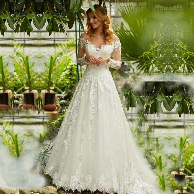 Eightale Long Sleeves Wedding Dresses Boho Appliques A-Line Lace Wedding Gowns Custom Made Bride Dress Vestidos De Festa