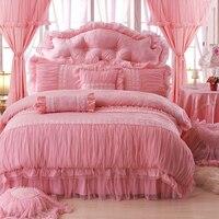 Девушки комплект постельного белья бежевый хлопок жаккард кружева принцесса постельного белья Полный Королева Король Размер bedskirt + наволо