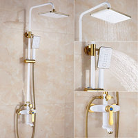 Shower Faucet White Luxury European Style Gold Shower Set Wall Mounted Mixer Faucet Single Handle 0102