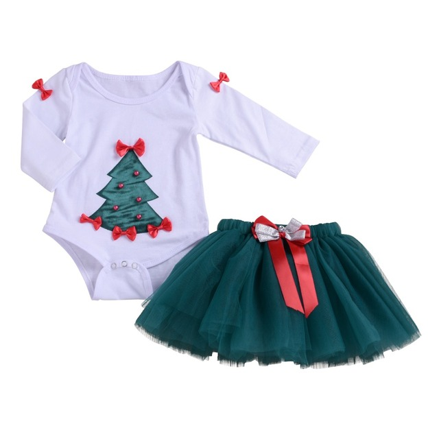 002661c45205 2pcs Baby Girls Clothes Set My 1st Christmas Tree Romper + Tulle Skirt  Party Dress up Costume Set Baby Birthday Cake Smash 0-12M