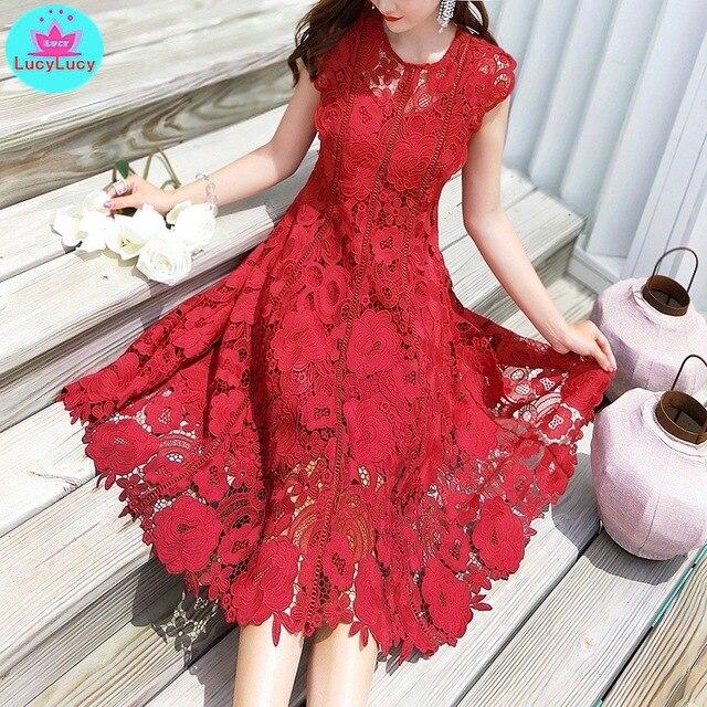 2019 yaz yeni ağır iş dantel ajur retro kırmızı elbise bel elbise diz boyu tankı dantel kolsuz