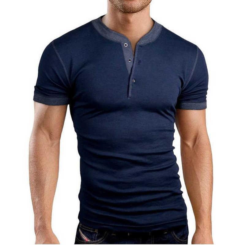 Nieuwe Collectie Grijs t-shirt Mannen Tee Shirt Homme Zomer Merk Slim Fit Korte Mouw Henley Shirt Casual Katoen V hals T-shirt Homme