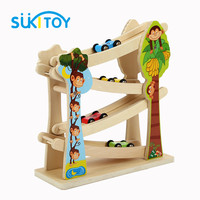 Four Ladder Car Glide Swiftly Slide Pulley Slide Rail Car Speeding And Wooden Toys