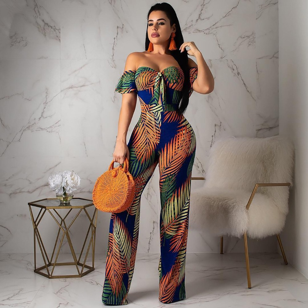 Enthusiastic Summer Off Shoulder Boho Style Jumpsuits Womens Leaf Printed Backless Wide Leg Body Suit Casual Beach Vacation Romper Q214h Promoting Health And Curing Diseases Jumpsuits