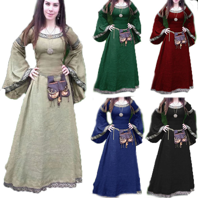 788713dd094 Women Medieval Renaissance 12th Century Peasant Shepherd Smock Frock Tribal  Costume Scottish Maxi Wedding Robe Dress For Ladies