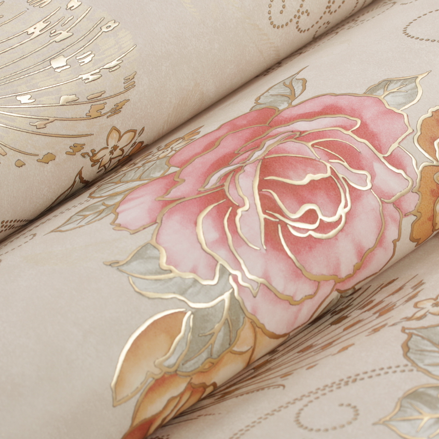 Europeenne De Luxe Bronzage Floral Papier Peint Rose Murale Mur