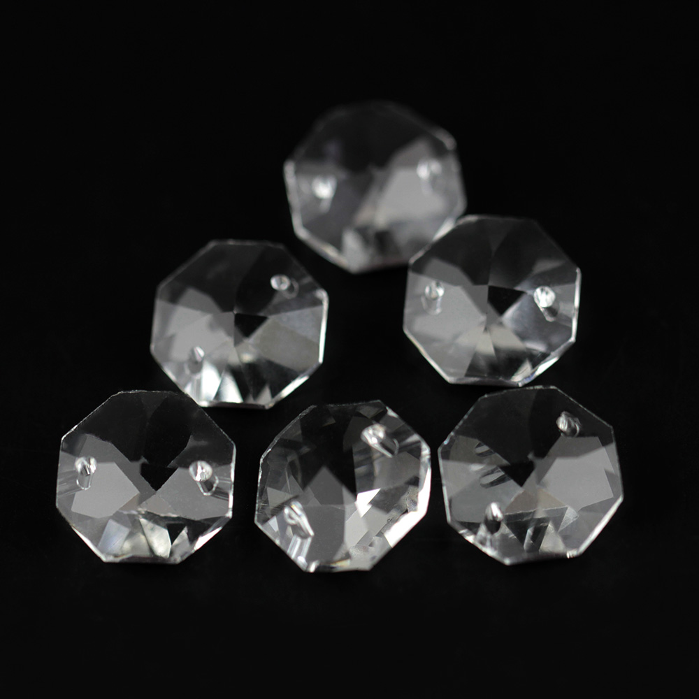 14mm 100pcs Rhinestone Flower Cut 16 Faceted Chandelier Crystal Parts Octagon Beads For Lamp&Lighting Decor