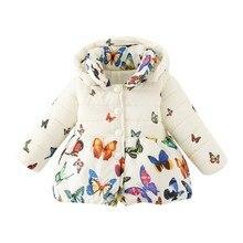 Зимнее пальто для маленьких девочек хлопковая куртка с бабочками для малышей Верхняя одежда для детей 0-24 месяцев