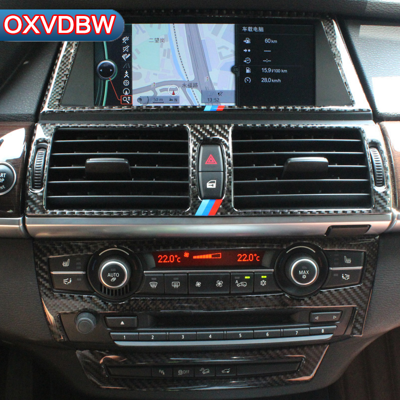 цена на Carbon Fiber Car Interior Navigation Control Panel air conditioner outlet Decorative Frame for BMW e70 e71 X5 X6 Accessories