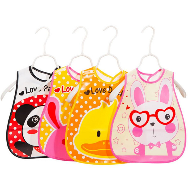 Adjustable font b Baby b font Bandana Bibs EVA Plastic Waterproof Lunch Bibs Infants Cartoon Bibs