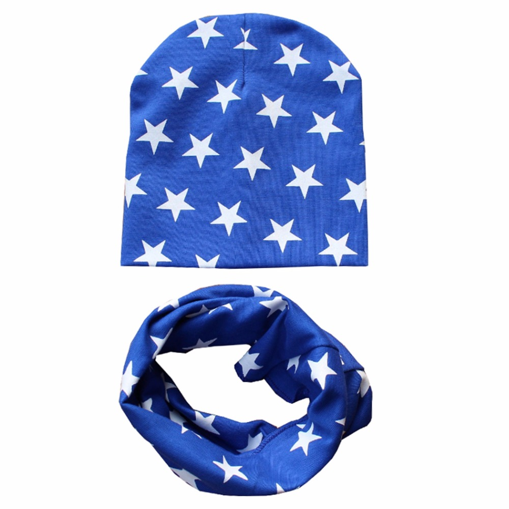 Autumn winter Knit Hats Crochet Scarves Hat Girl Boy Cap Kids Beanie Stars Hat Cotton  Children Collar Scarf baby cap child cap zea rtm0911 1 children s panda style super soft autumn winter wear cap scarf set blue
