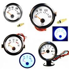 2 52mm Car Water Temp Gauge Oil Temperature Volt Meter Tachometer Pointer instrument Blue LED Light