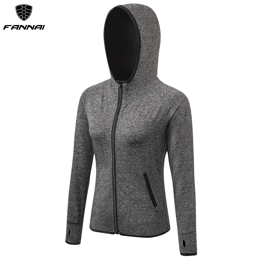 US $13.04 50% OFF|Women Running Jackets Long Sleeve Jogging Sweatshirt Ladies Yoga Sports Coat Zipper Fitness Gym Hooded Women's Clothing in Running