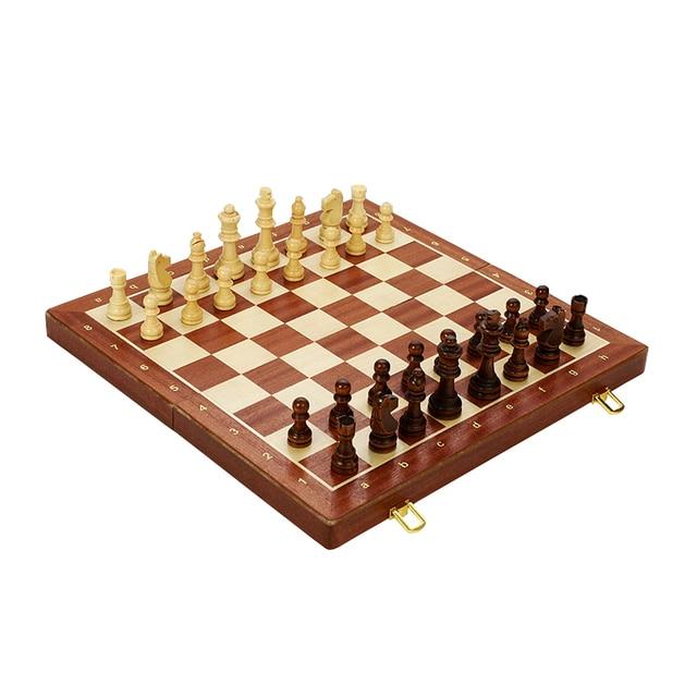 Jeu d'échecs pliant en bois de noyer, de qualité supérieure, produit manuel, pièces en bois massif pour enfants, divertissement, cadeau, jeu de société 3