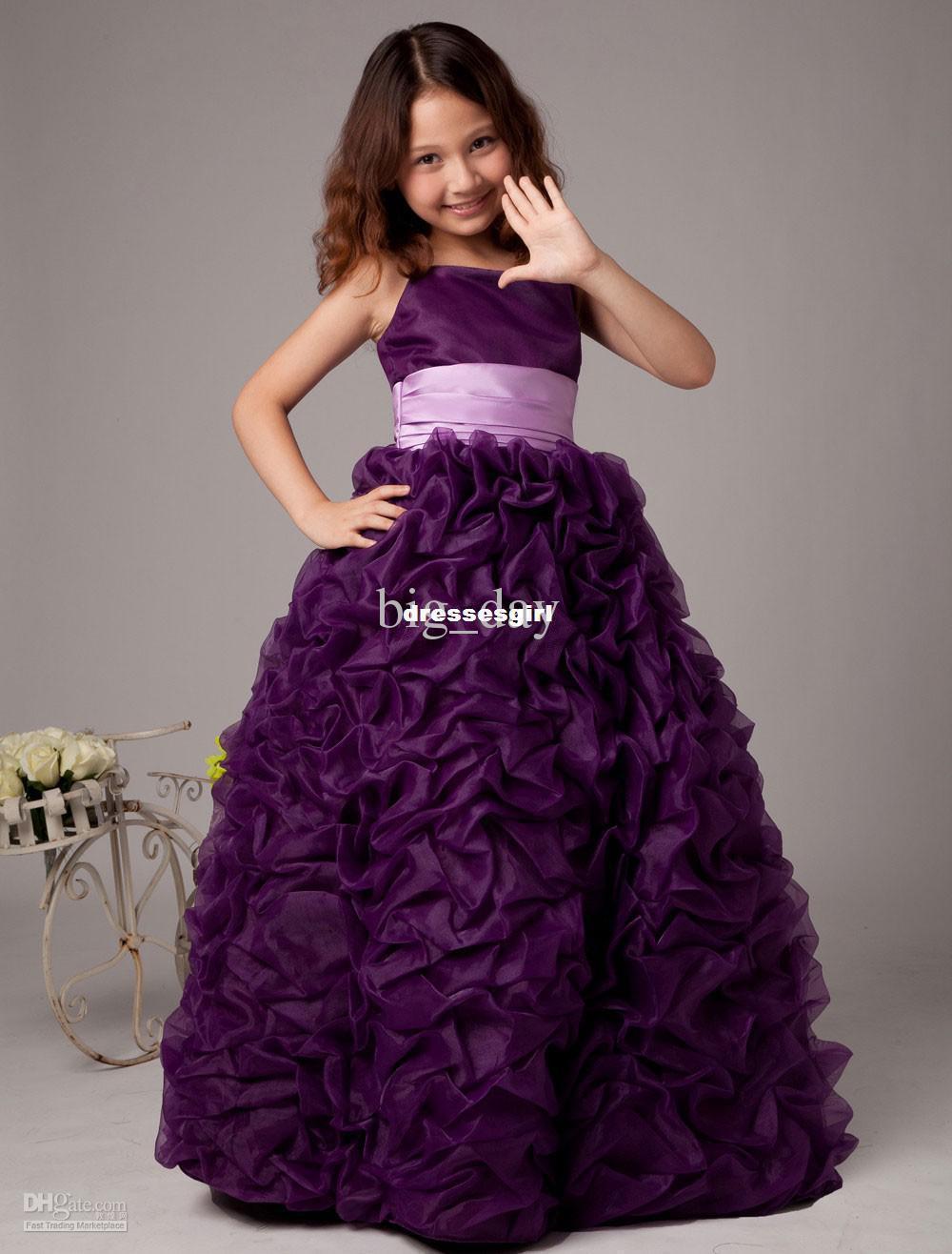 2014 Cute Girl Dress Floor Length Purple Tulle