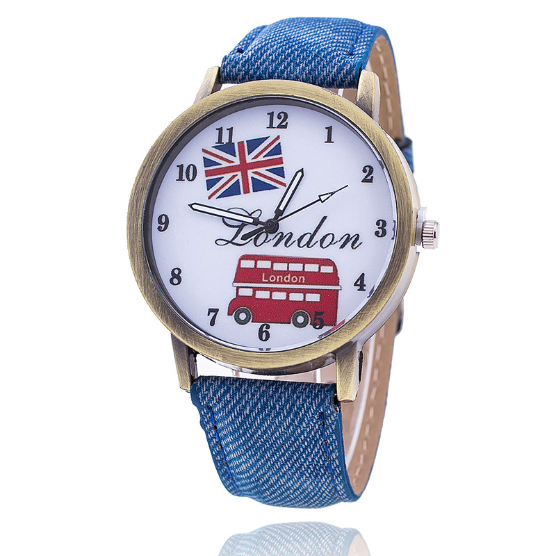 Vansvar Fashion Union Flag London Bus Watch Relogio Feminino Women Wristwatch Casual Luxury Jeans Strap Watches 1554