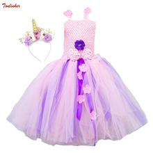 New Summer Unicorn Costume Dress For Girl With Flower Beadband Hair Hoop Girls Party Tutu Childrens Day Gift Pin