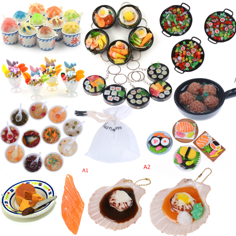 Miniature Japanese Seafood Noodles Sushi Sundae Salmon Pretend Food For Doll House Kitchen For Blyth Doll For Children