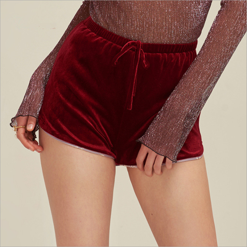 Women sleep sexy vine red velvet with white lining bottoms sweet elegant summer shorts well made new arrival for ladies