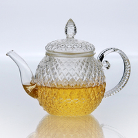 Elegant Europe Glass Teapot Heat resistant Borosilcate Glass Kettle wedding decoration Christmas gift health flower tea