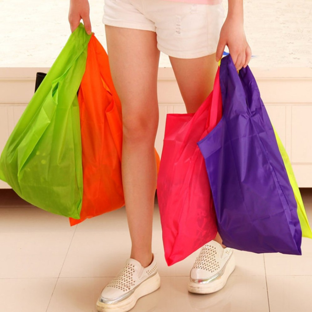 Solid Color Foldable Oxford Shopping Bag Environmental Eco-friendly Reusable Portable High Capacity Handle Bag For Women 2018