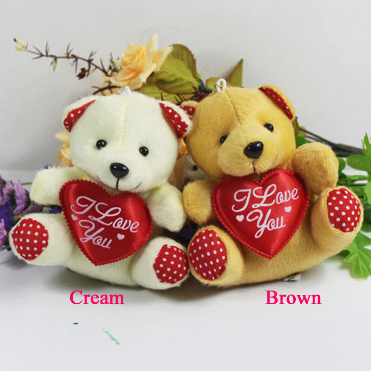 Hot Sale 11cm Mini Plush Bear Toys With Heart Cream Brown Cheap