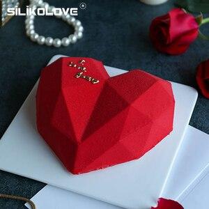 SILIKOLOVE 3D Diamond Love Heart Shape Silicone Molds Bakeware For Sponge Cakes Chiffon Mousse Pastry Dessert Moulds
