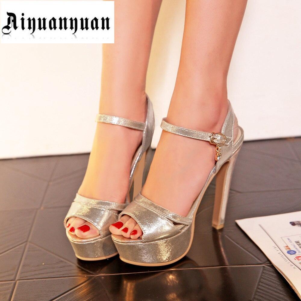European sandals shoes - 2017 Big European Shoe Size 42 43 44 45 46 47 48 High Heel Crystal Design Peep Toe Pu Sandals Fashion Lady Pumps Free Shipping