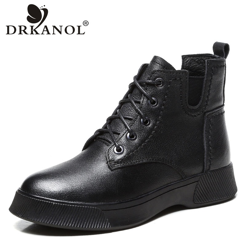 DRKANOL Autumn Winter Warm Plush Snow Boots Women Genuine Leather Ankle Boots Retro Round Toe Lace