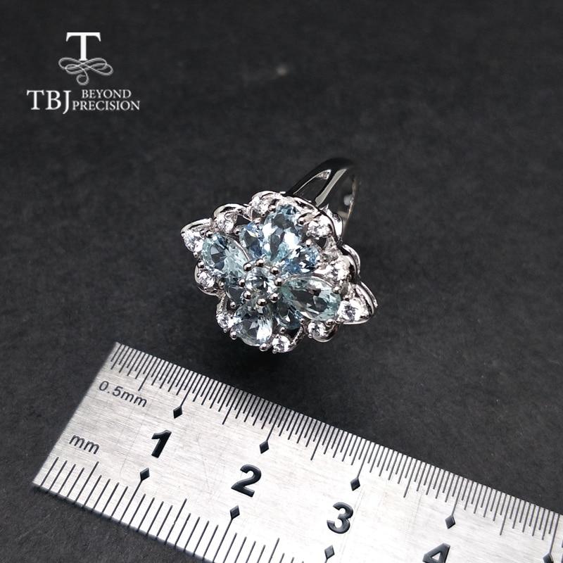 TBJ, 100%ธรรมชาติ3ctบราซิลa quamarineแหวนพลอยใน925เงินสเตอร์ลิงเครื่องประดับเพชรพลอยสำหรับสุภาพสตรีกับของขวัญกล่อง-ใน ห่วง จาก อัญมณีและเครื่องประดับ บน   3