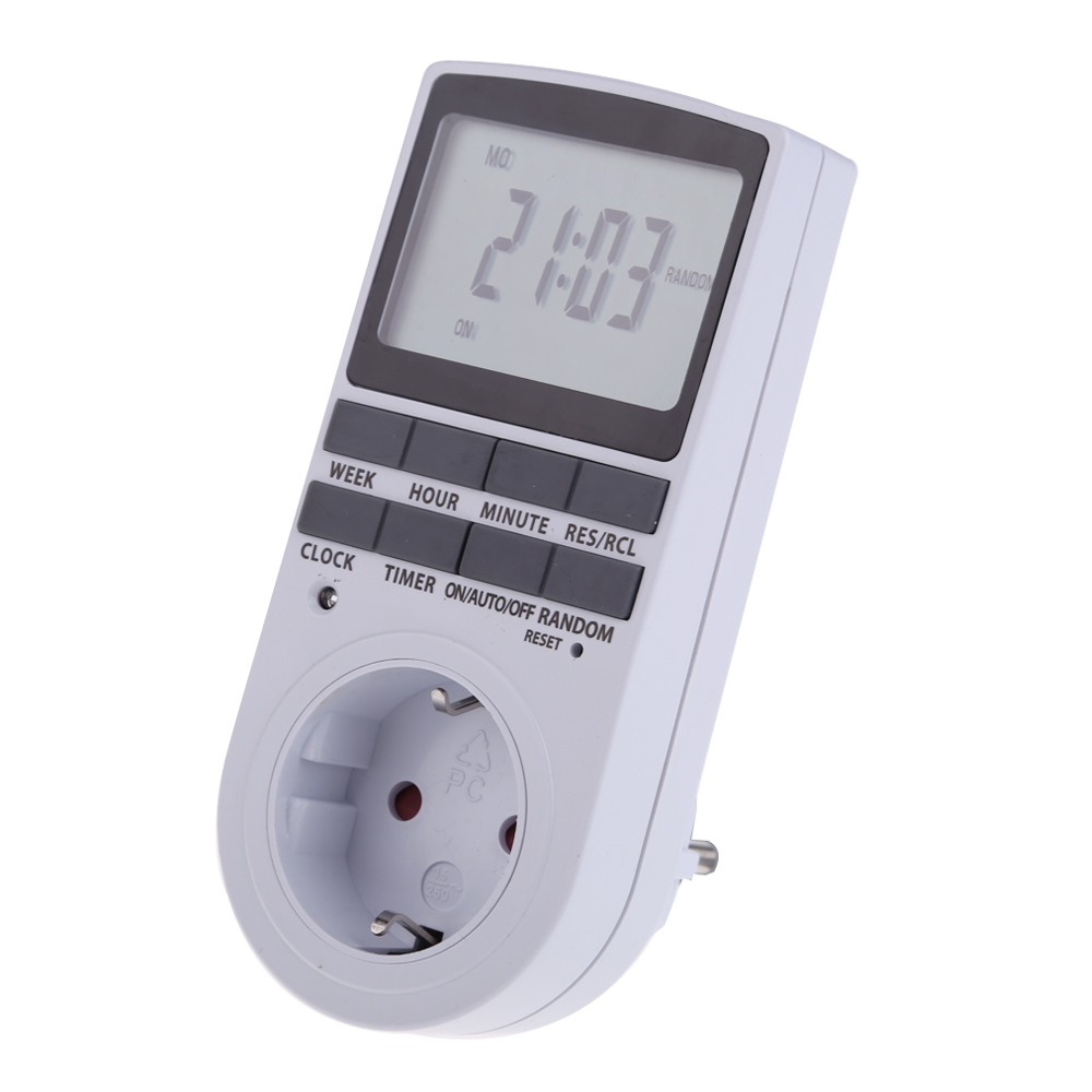Portable Plug in Digital Timer 24h 7day Week Timer LCD Display Timing for Indoor Lights/TV/PC/Fans/Kitchen US/EU Plug