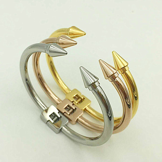 Morpe Trendy Cone Nail Head Cuff Bracelet Gold Color Stainless Steel Bracelets Bangles Open Design Men Punk