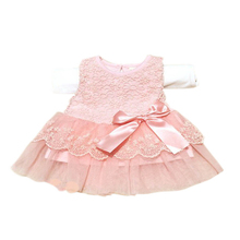 5 Colour Baby Girls Sleeveless Lace Crochet Princess Dress Kids With Bow Belt Party Dresses Vestido