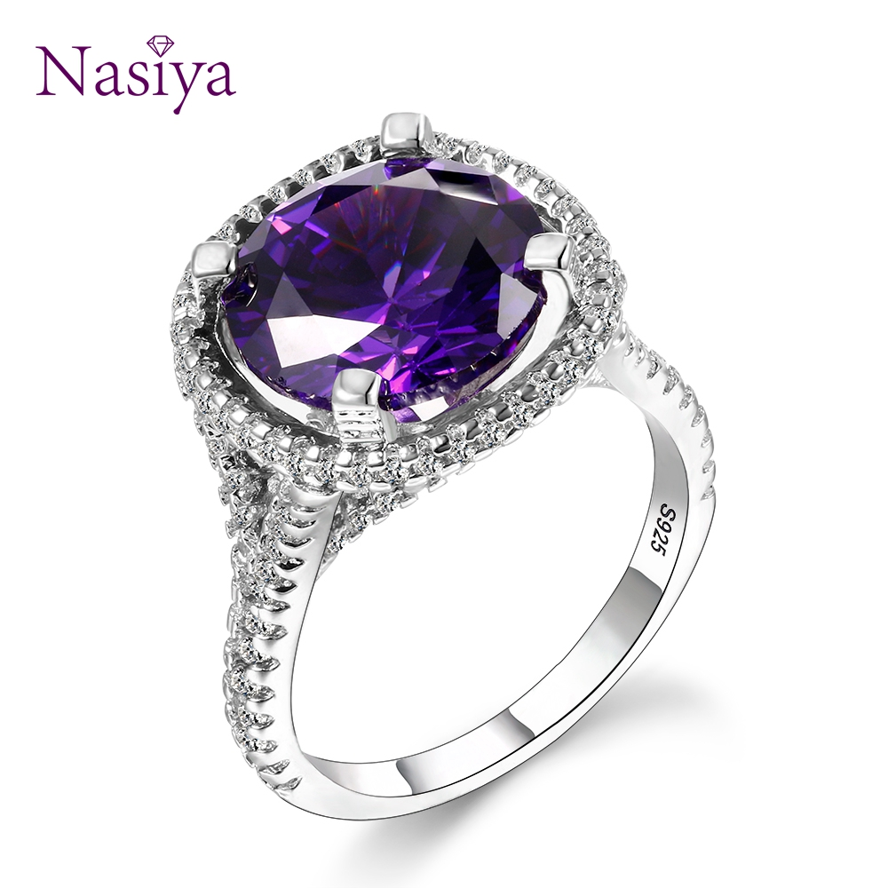 New Arrival Exquisite Round Amethyst Rings For Women 925 Sterling Silver Jewelry With Natural Stones Anniversary Gift Size 6-10New Arrival Exquisite Round Amethyst Rings For Women 925 Sterling Silver Jewelry With Natural Stones Anniversary Gift Size 6-10