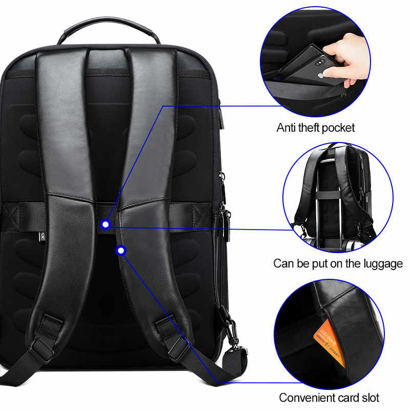 BOPAI мужской рюкзак из натуральной кожи, 15,6 дюймов, рюкзак для ноутбука из натуральной кожи, мужской деловой рюкзак с usb-портом для путешествий
