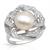 I & zuan S925 Plata Blanco Diámetro 9 ~ 10mm de Perlas Cultivadas de agua dulce de Moda Anillo de la Joyería de regalo de Navidad