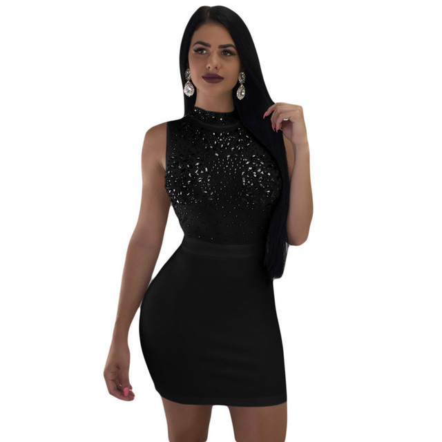 MUXU sexy black sequin dress patchwork vestidos women clothing fashion  sukienka glitter elbise bodycon dress party streetwear 1e739542de0a