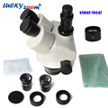 Lucky Zoom Brand 3.5X-45X Simul-Focal Trinoculaire Zoom Stereo Microscoop Hoofd WF10X/20 SZM0.5X WD165mm Microscoop accessoires