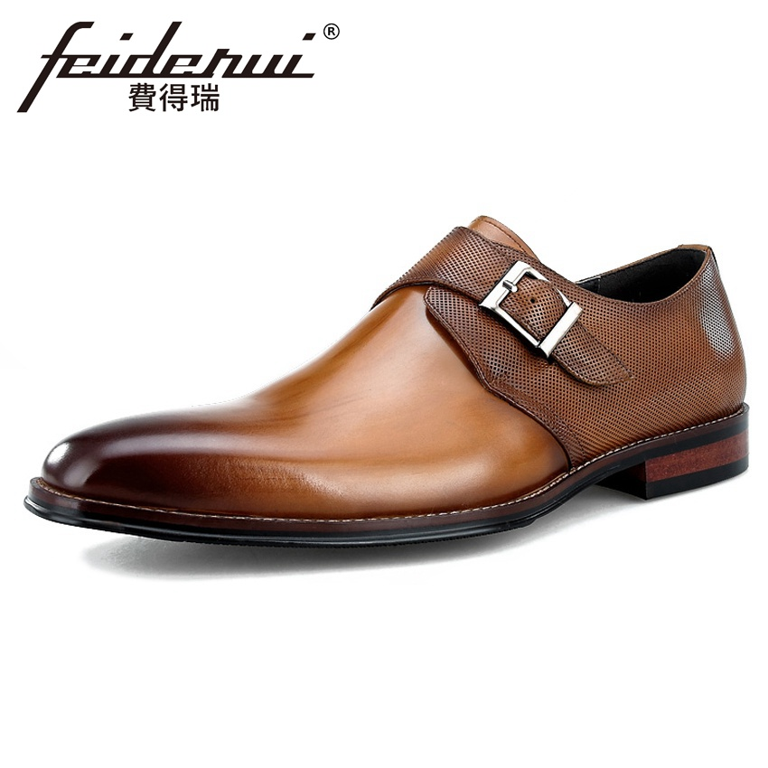 2018 Summer Style Genuine Leather Men's Monk Strap Footwear Round Toe Breathable Handmade Man Formal Dress Party Shoes BQL131 luxury snake pattern patent leather men s monk strap formal dress footwear round toe handmade male casual shoes for man ymx411