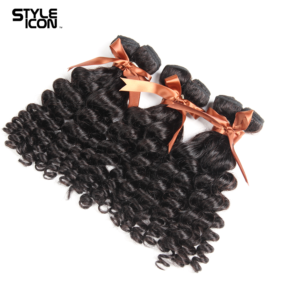 Styleicon Hair Funmi Curly 3 Bundles Brazilian Non Remy Human Hair Bundles Weave Natural Color Hair Extensions Free Shipping