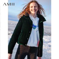 Amii Minimalist Winter Short Down Jacket Women 2018 Preppy Style Solid Embroidery Floral Velvet Warm Femlae Short Hooded Caot